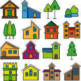 Set of beautiful homes flat design icons. Royalty Free Stock Photo