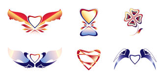 Set beautiful icons 1, Hearts, wings theme Stock Image