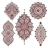 Set of Beautiful Indian ethnic ornaments. Folk Henna tattoo styl Stock Photos