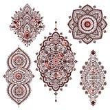 Set of Beautiful Indian ethnic ornaments. Folk Henna tattoo styl Stock Photos