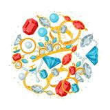 Set of beautiful jewelry and precious stones Stock Images