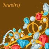 Set of beautiful jewelry and precious stones Stock Photos
