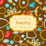Set of beautiful jewelry and precious stones Stock Photo