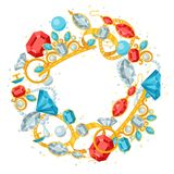 Set of beautiful jewelry and precious stones Stock Image