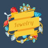 Set of beautiful jewelry and precious stones Royalty Free Stock Images