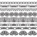 Set of beautiful lace vector trims Stock Images