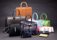Set of beautiful leather handbags Stock Photography