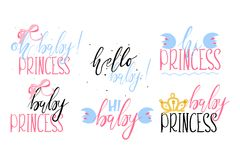 The set of beautiful lettering, hand painted with brush bages - Oh baby princess. Hello baby and others. Baby girl announcement quotes, logos, text design Royalty Free Stock Image