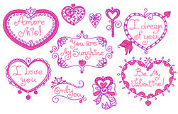 Set of beautiful line art doodle hearts and captions in two colors. Stock Images