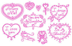 Set of beautiful line art doodle hearts and captions. Stock Photos