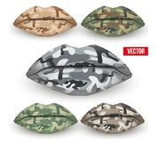 Set of Beautiful lips with Camo texture. Vector Royalty Free Stock Image