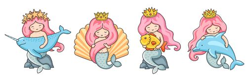 Set of beautiful little mermaids with pink hair. royalty free illustration