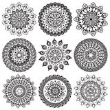 A set of beautiful mandalas and lace circles Royalty Free Stock Image
