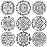 A set of beautiful mandalas and lace circles Stock Image