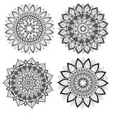 A set of beautiful mandalas and lace circles Royalty Free Stock Images