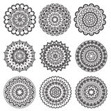 A set of beautiful mandalas and lace circles Royalty Free Stock Photos