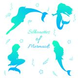 Mermaids silhouettes black Stock Photo