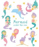 Set of beautiful mermaids. Little girls with colorful hair and fish tails. Fantastic sea life. Mythical marine creatures. Cartoon collection of beautiful Royalty Free Stock Image
