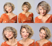 Set of beautiful mid age woman Royalty Free Stock Images