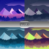 Set of beautiful mountain and forest landscapes. Nice  illustration Stock Photography