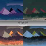Set of beautiful mountain and forest landscapes. Nice  illustration Stock Photo