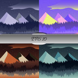 Set of beautiful mountain and forest landscapes. Nice vector illustration Stock Photography