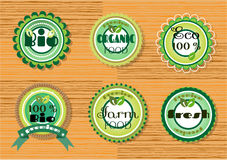 Set of beautiful, natural, green labels with text. Group of six labels on wooden background Stock Photos
