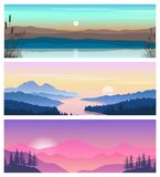 A set of beautiful natural landscapes with mountains and a river.Vector illustration of colorful sunsets and sunrises