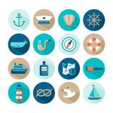 Set of beautiful nautical flat icons Royalty Free Stock Photos