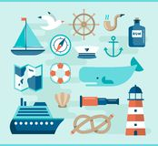 Set of beautiful nautical flat icons Royalty Free Stock Image