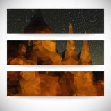 Set of beautiful night landscape backgrounds, Stock Photo