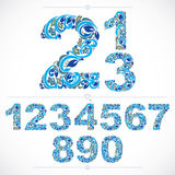 Set of beautiful numbers decorated with blue herbal ornament. Ve Royalty Free Stock Photo