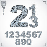 Set of beautiful numbers decorated with herbal ornament.  Royalty Free Stock Image