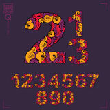 Set of beautiful numbers decorated with herbal ornament. Vector Royalty Free Stock Images