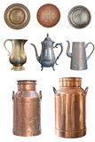 A set of beautiful old teapots, copper milkmen and plates isolated on a white background stock photography