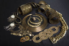 Set of Beautiful Oriental gold jewelry (Indian, Arab, African, E Stock Photos
