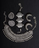 Set of Beautiful Oriental Silver jewelry (Indian, Arab, African, Stock Photography