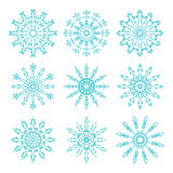 Set of beautiful ornate lacy snowflakes. Vector illustration. Stock Image