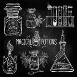 Set of beautiful ornate potion bottles. Design and tattoo elements. Vector illustration Royalty Free Stock Image