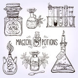 Set of beautiful ornate potion bottles. Royalty Free Stock Photography