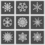 Set of beautiful paper snowflakes. Royalty Free Stock Photos