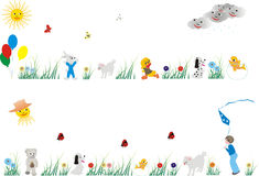 Set of beautiful patterns for design. In children's garden Royalty Free Stock Photo