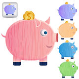 Set of beautiful piggy banks Royalty Free Stock Photo