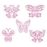 Set of beautiful pink butterflies Stock Photo