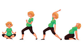 Set with beautiful pregnant woman in various poses of yoga Royalty Free Stock Photography