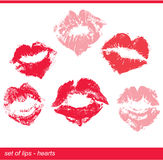 Set of beautiful red lips in heart shape print Royalty Free Stock Photo