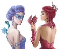 Set Beautiful romantic woman and fantasy dragons. Royalty Free Stock Images