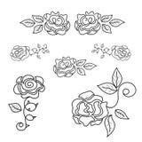 Set of beautiful roses line art. luxury fashion - vector illustr. Ation vector illustration