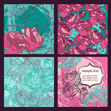 Set of beautiful roses patterns and cards stock illustration