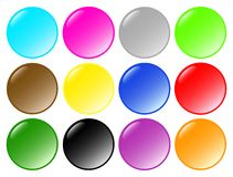 Set of beautiful round buttons. Set of 12 beautiful round buttons Stock Photos
